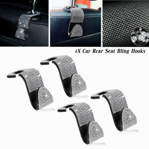 4Pcs Car Interior Handbag Flash Bling Seat Storage Hook Headrest Hanger Holder