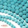 Lava Perlen helles Türkis  Kugeln 6 - 16 mm rund , 1 Strang BACATUS #4075