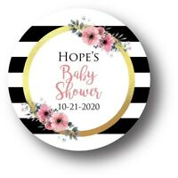 30 Floral Girl Baby Shower Personalized Favors Treat Bag Stickers