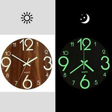 Wooden Silent Non Ticking Wall Clock Luminous Clocks Night Lights Indoor Outdoor