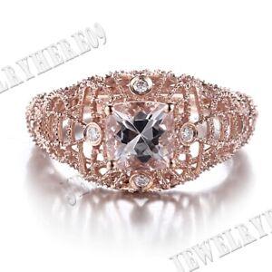 Solid 14k Rose Gold Vintage Lady 6mm Cushion Morganite Engagement Diamond Ring