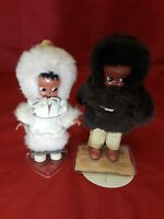 """Heritage Oglala Sioux Doll Celluloid Dolls Set of 2. 7"""" Tall"""