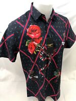 Mens PREMIERE SHORT SLEEVE Button Down Dress Shirt BLACK RED ROSES SNAKE 603 NWT
