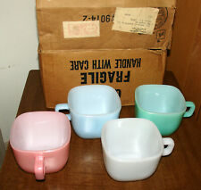 4 Glasbake square pastel Lipton Soup Mugs with the Lipton letter In Original Box