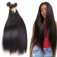 Brazilian 8A 100% Virgin Human Hair Extensions Weave 3Bundles 300G #1B Straight