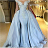 Beaded Mermaid Celebrity Party Prom Dress Detachable Satin Pageant Evening Gowns