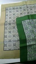 "two vintage 17"" square handkerchiefs/scarves foulard olive/spruce green borders"