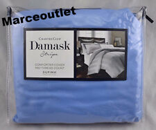 Charter Club Damask Stripe 550 Thread Count FULL / QUEEN Duvet Cornflower Blue
