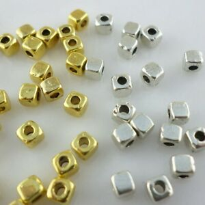 360pcs Tibetan Goid/Silver Small Square Cube Spacer Beads for Jewelry 3mm