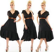 Damen langes Kleid mit breiten Volant V-Ausschnitt inkl. Gürtel 36-40 ITALY
