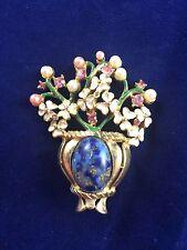 Vintage Kramer Signed Gold Tone Jeweled & Pearl Flower Basket Pin Brooch