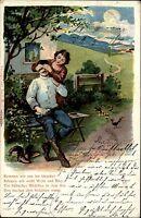 Feldpostkarte 1905 nach Freiberg Soldaten Humor-AK alte color Künstlerkarte