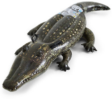 Inflatable Crocodile Pool Rider Toy - Ride On Float - Realistic Saltwater Croc