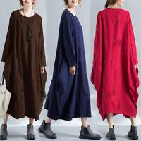 Womens Ladies Long Sleeve Cotton Lagenlook Italian Drape Loose Baggy Maxi Dress