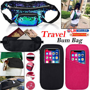 Unisex Running Belt Bum Bag Women Mens Fanny Pack Waterproof Festival Black UK