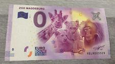 """BILLET DE 0 EURO NEUF 2017 """" Zoo Magdeburg """" EURO SOUVENIR."""