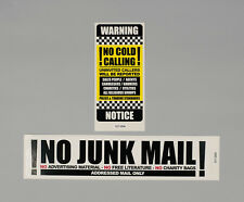 No Junk Mail Letterbox Sticker And No Cold Callers Front Door Decal Sign - 14/03