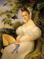 Oil painting merry joseph blondel - portrait of a woman seated beneath a tree