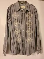 One 90 One Men's Western Cowboy Cool Embroidered Cotton Blend Long Sleeve XL
