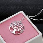 NEU Halskette Baum Silber Blätter Hohl Kettemit Anhänger Geschenk