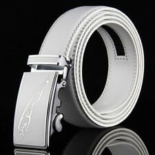 Fashion Mens White Leather Belts Waistband Strap Automatic Buckle Wedding Golf