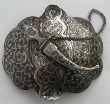FINE ANTIQUE RUSSIAN SILVER  & NIELLO BELT BUCKLE  c.1910