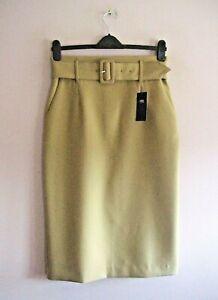 M&S Size 12 Long Camel Calf Length Pencil Skirt + Wide Buckle Belt NEW