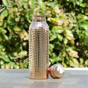 Handmade Hammered 800ml Pure Copper Water Bottle natural Ayurveda Health Benefit