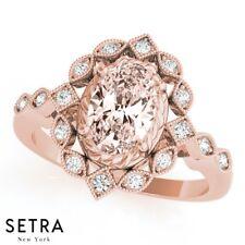 Vintage natural Oval Shape morgeniat  Diamond Sparkling 14K Fine Rose Gold Ring