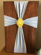 Wood and Light Blue Fabric Flower Cross Rustic Sign Wall Decor Christian, Jesus