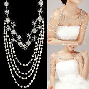 Wedding Bridal Crystal Rhinestone Pearl Shoulder Body Chain Necklace