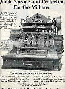 1910 Vintage Orig NATIONAL CASH REGISTER Ad. Very Ornate. Ex Large Illustration