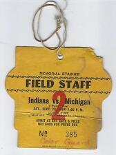 09-29-1934 I.U. Indiana University vs Michigan Memorial Stadium Field Staff Pass