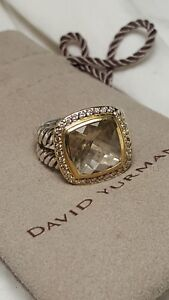 David Yurman Champagne Citrine and Diamond 11 mm Ring Sterling & 18 kt Gold 6