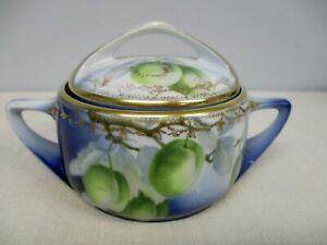 ANTIQUE ROSENTHAL DONATELLO HAND PAINTED BLUE SUGAR BOWL w GREEN PLUMS