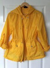 TopShop Yellow Light Waterproof Hooded Zip Rain Coat Jacket Cagoule UK 12