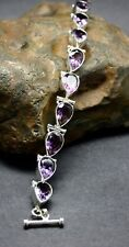 GENUINE AMETHYST GEMSTONE BRACELET set in .925 STERLING SILVER  FREE SHIPPING!