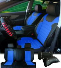 PU Leather Full Set Car Seats Covers Cushion Front Rear Ford F-Series Bk/Blue