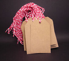 100 Medium Blank Gift Tags w/ Twine - Kraft - Cardstock Price Hang Handmade
