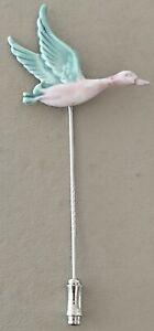 PRETTY VINTAGE SILVER FLYING DUCK BIRD ENAMEL STICK PIN BROOCH