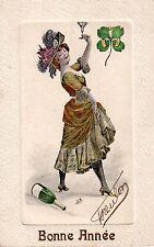 Carte postale ancienne illustrée de bonne année