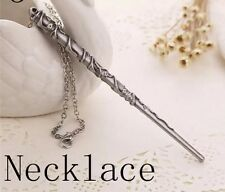 Harry Potter Hermione Granger Wand Necklace Silver 11cm US Seller
