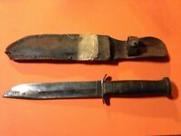 Vintage Western Boulder CO Patented 1928  Fighting Knife Stacked Leather Handle