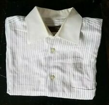 Tiglio Mens Button Front Dress Shirt 16 1/2 34 35 Size White Blue Striped Italy