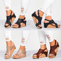 US Womens Leather Ankle Strap Peep Toe Sandals Summer Platform Flat Shoes Size