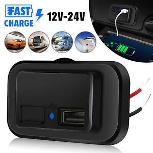 12V-24V 4.8A Dual USB Port Car Fast Charger Socket Power Outlet LED Waterproof