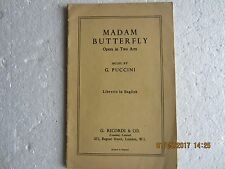 MADAM BUTTERFLY-LIBRETTO IN ENGLISH-RICORDI-1950s