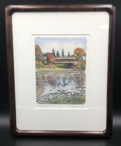 """Framed Signed Hand Colored Etching """"Covered Bridge"""" Vermont Bruce Peck 71/100"""