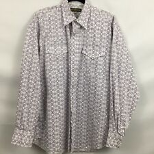 STETSON WESTERN L MEN'S LS SHIRT PAISLEY DESIGN EMBROIDERED LOGO PRE-OWNED