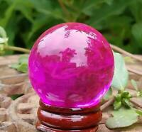 Fuchsia Pink Glass Crystal Ball Stand 40mm Divination Gazing Sphere Scrying Orb